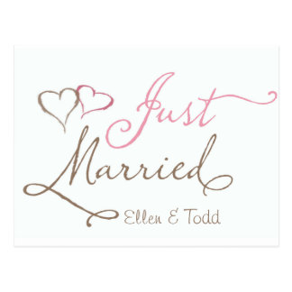 Just Married in chocolate and pink Postcard