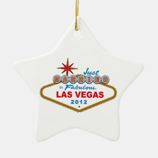 Just Married In Fabulous Las Vegas 2012 Vegas Sign Ceramic Star Decoration