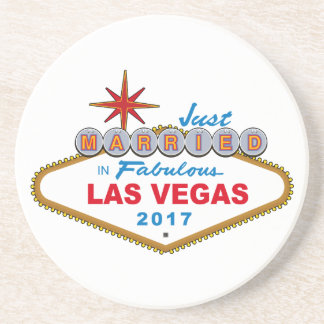 Just Married In Fabulous Las Vegas 2017 (Sign) Coaster