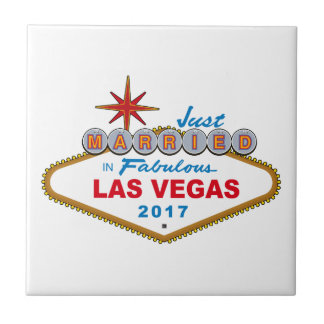 Just Married In Fabulous Las Vegas 2017 (Sign) Small Square Tile