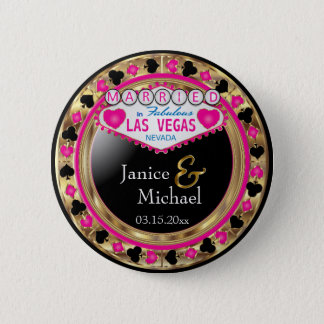 Just Married in Fabulous Las Vegas | Pink 6 Cm Round Badge