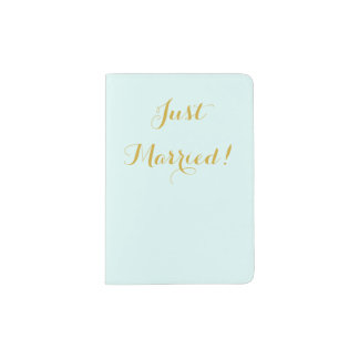 Just married in gold honeymoon passport holder