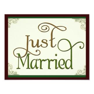 Just Married in swirl fun font Card