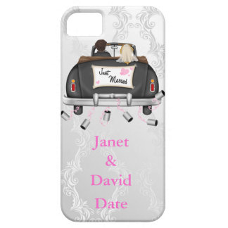 JUST MARRIED IPHONE 5 CASE WHITE DAMASK GIFT