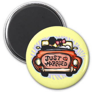 Just Married Jalopy 6 Cm Round Magnet
