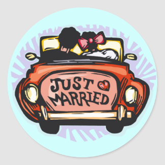 Just Married Jalopy Round Sticker