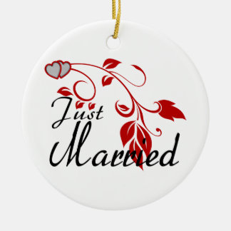 Just Married Joined Hearts Floral Vines Round Ceramic Decoration