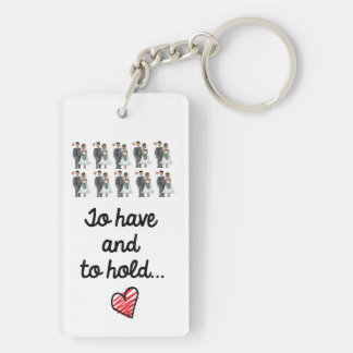 Just Married key ring Double-Sided Rectangular Acrylic Key Ring