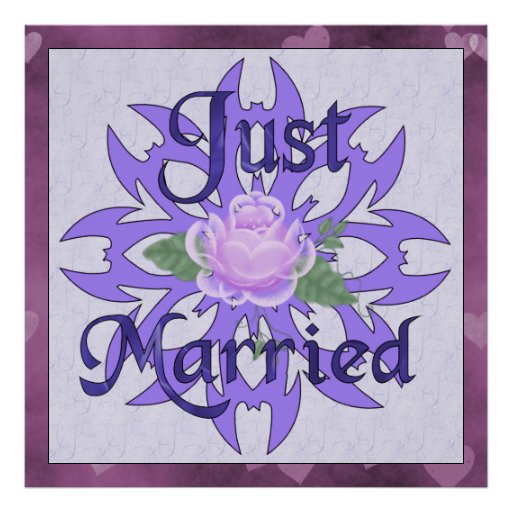 Just Married Lavender Rose Posters