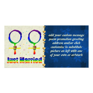 Just Married Lesbians Personalized Photo Card