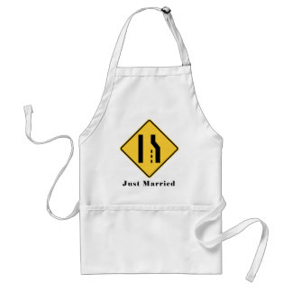 Just Married Merge Lane Reduction Funny Wedding Adult Apron