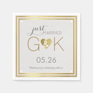 just married + monogram . wedding reception nice disposable serviettes
