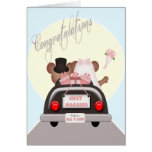 Just Married Mouse Bride and Groom Wedding Greeting Card