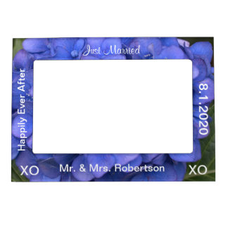 Just Married Mr. & Mrs. Blue Hydrangea Floral Magnetic Photo Frame