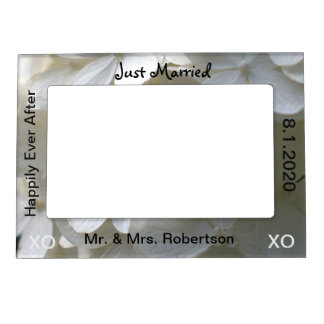 Just Married Mr. & Mrs. White Hydrangea Floral Magnetic Picture Frame