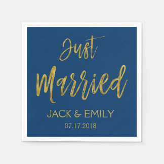 Just Married Navy Blue  and Gold Foil Napkins Disposable Serviettes