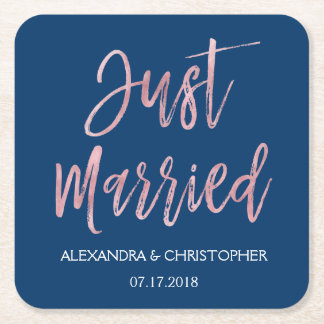 Just Married Navy Blue and Rose Gold Foil Coasters