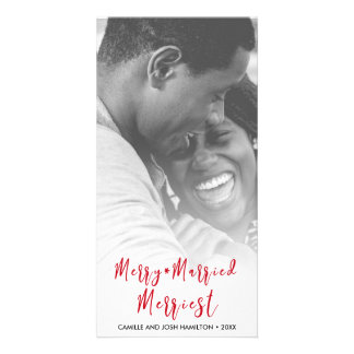 Just Married Newlywed Christmas Holiday Photo Card