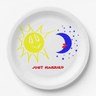 just married paper plate