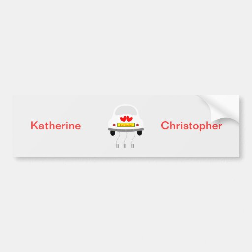 Just married personalised name bumper sticker