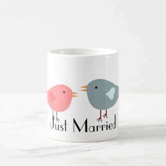 Just Married Pink and Blue Bird Couple Coffee Mug