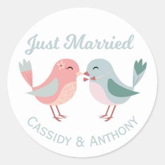Just Married Pink & Blue Lovebirds Wedding Classic Round Sticker