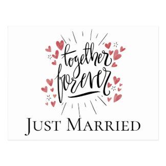 Just Married Pink Hearts Forever Together Wedding Postcard
