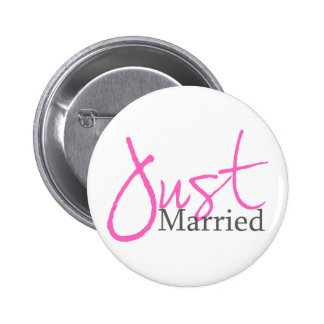 Just Married (Pink Script) 6 Cm Round Badge