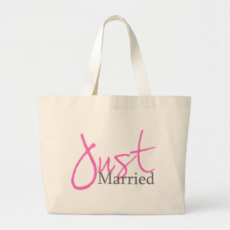 Just Married Pink Script Canvas Bags