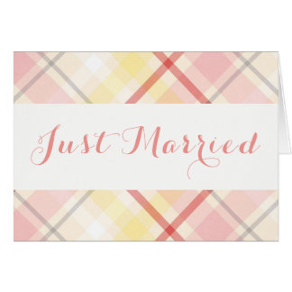 Just Married Pink & Yellow Plaid Stripes Wedding Card