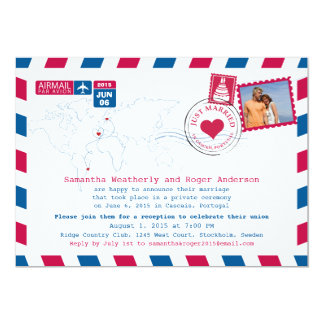 Just Married | Portugal Airmail Post Reception Card