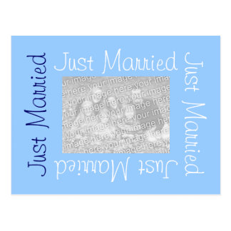 Just Married Postcards with Photo - Blue