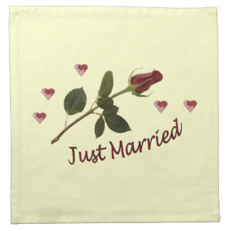 """Just Married"" Red Rose and Hearts Napkins"