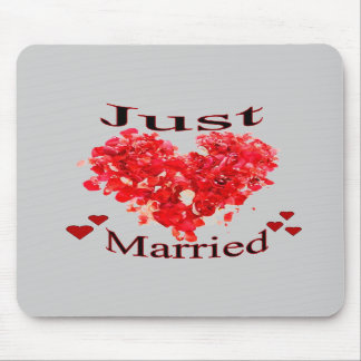 """Just Married"" Red Rose Petal Heart Mousepad"