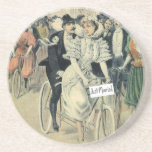 Just Married Riding A Bicycle Beverage Coasters
