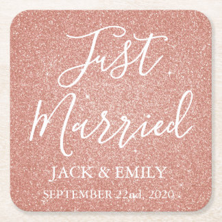 Just Married Rose Gold Blush Pink Coasters
