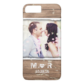 Just Married Rustic Country Wedding Photo and Date iPhone 7 Plus Case