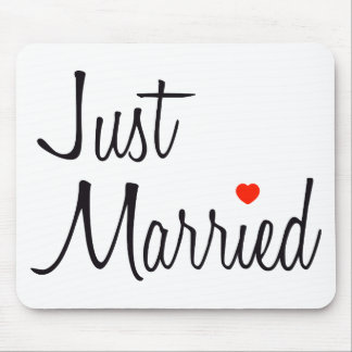 Just Married (Script With Red Heart) Mouse Mat