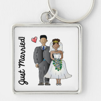 Just Married Silver-Colored Square Key Ring