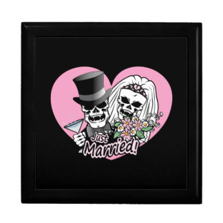 Just Married skulls Large Square Gift Box