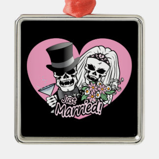 Just Married skulls Silver-Colored Square Decoration
