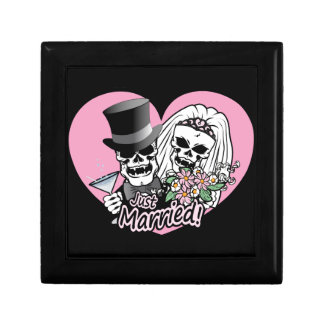 Just Married skulls Small Square Gift Box