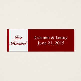 Just Married Small Tag - Cranberry Red Mini Business Card