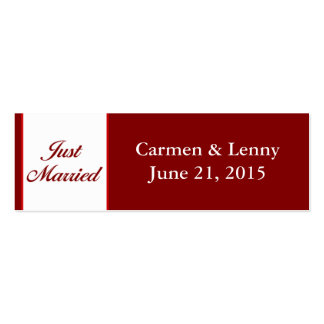 Just Married Small Tag - Cranberry Red Pack Of Skinny Business Cards