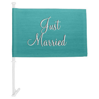 Just Married Teal Car Flag