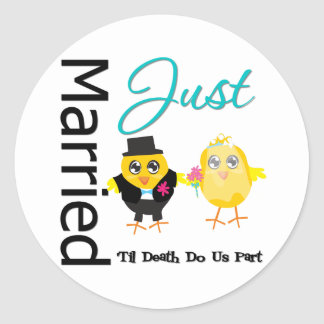 Just Married 'Til Death Do Us Part Round Sticker