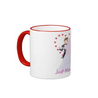 Just Married Topper Ringer Mug