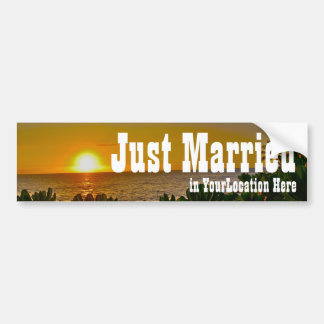 Just Married Tropical Beach Car Bumper Sticker