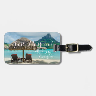Just married tropical honeymoon trip luggage tag