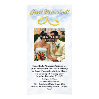 Just Married, Two Gold Bands/Clouds Photo Cards